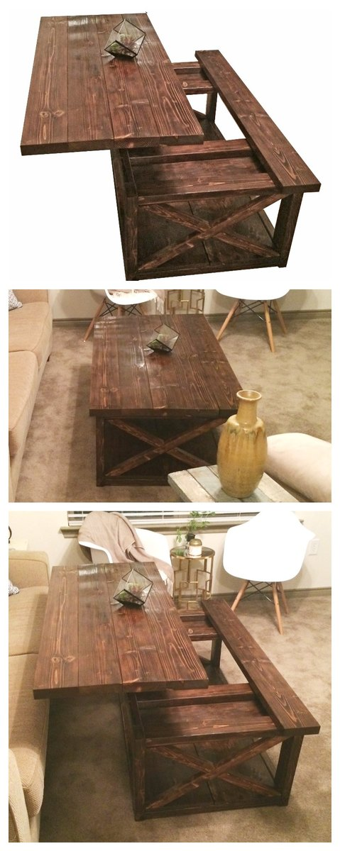 Diy Lift Top Coffee Table Rustic X Style Ana White