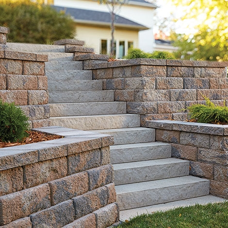Landings Concrete Block Step Units By Anchor Wall   Front Stairs Designs With Landings   Small Space   Flared   Architectural   Exterior   Curved