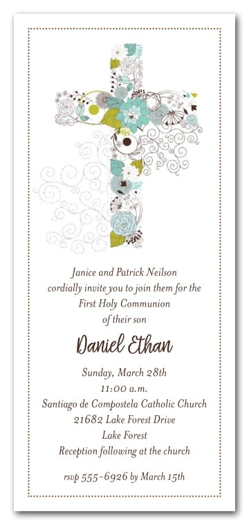 Blue Cross Of Flowers Boys First Communion Invitations