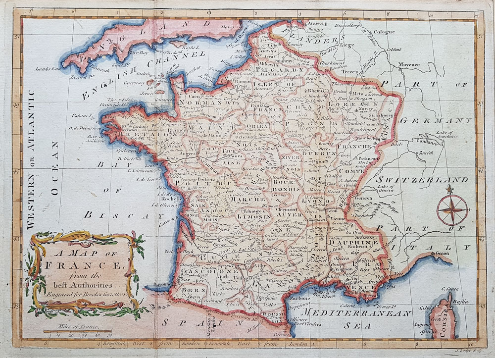 Antique Map of France   John Lodge circa 1780 18th century map of France by John Lodge