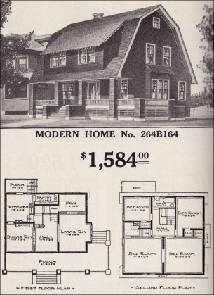 Dutch Colonial Revival   Sears Modern Home No  264B164   Shed Dormer     1916 Sears   No  264B164