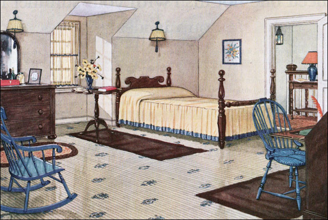 1926 Yellow Attic Bedroom   Colonial Style   Vintage Interior Design     1926 Yellow Attic Bedroom