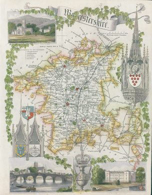 Old and antique prints and maps  Worcestershire  Moule map  1850     Worcestershire  Moule map  1850