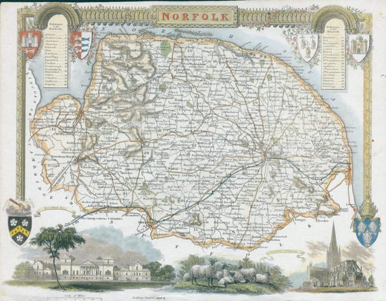 Old and antique prints and maps  Norfolk  Moule map  1850  Norfolk     Norfolk  Moule map  1850