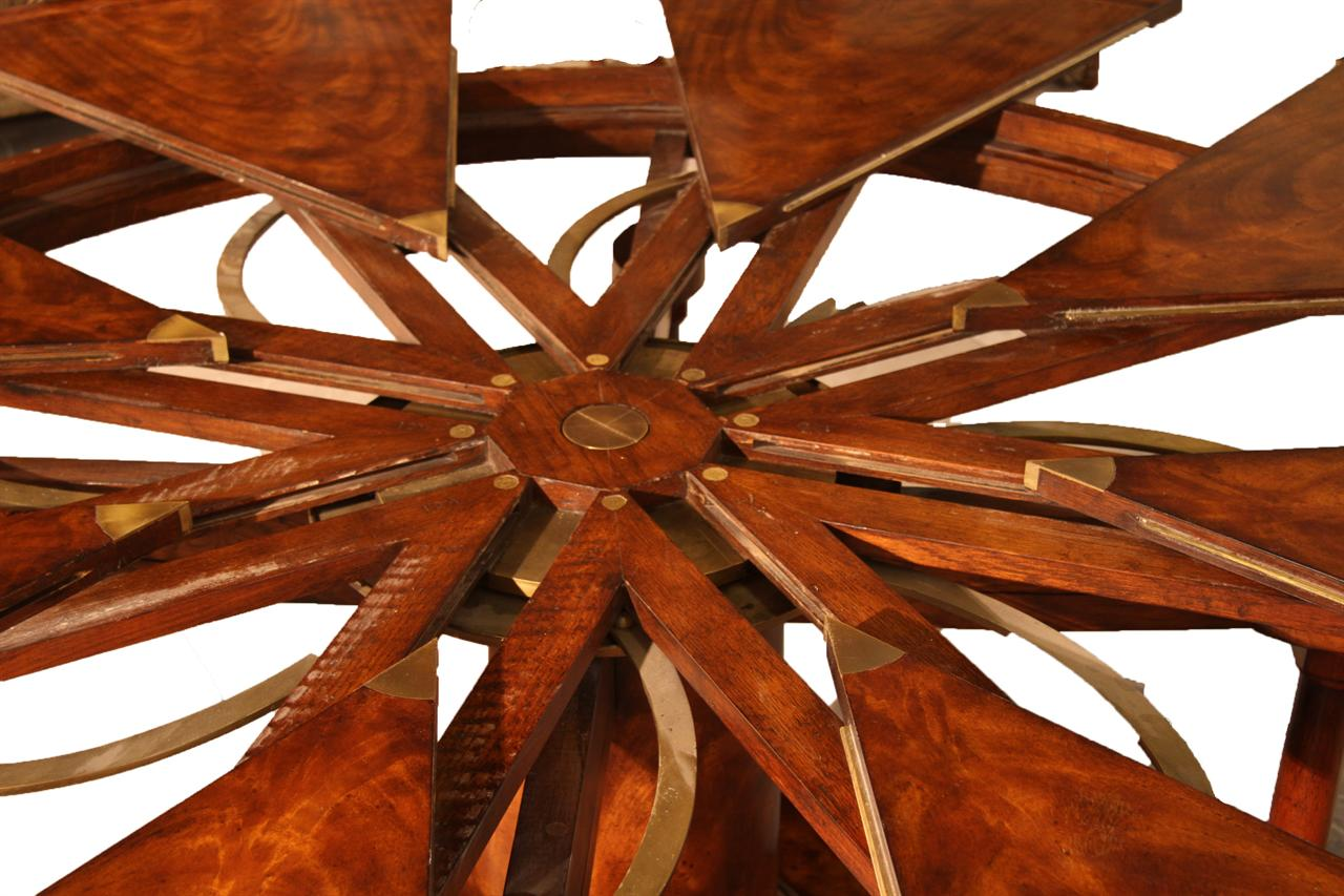 90 Round Mahogany Radial Dining Table With Jupe Patent Action