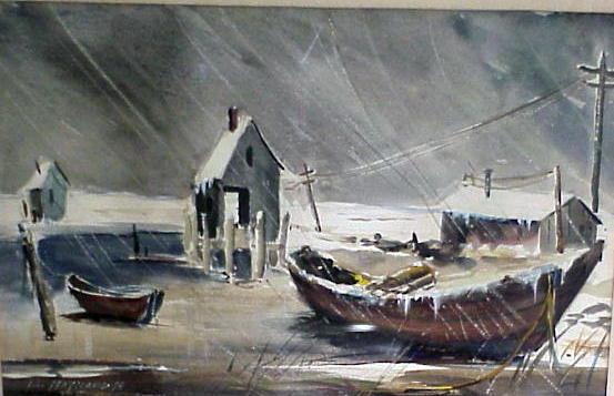 Watercolor Gouache William Maynard Winter Dock Scene For