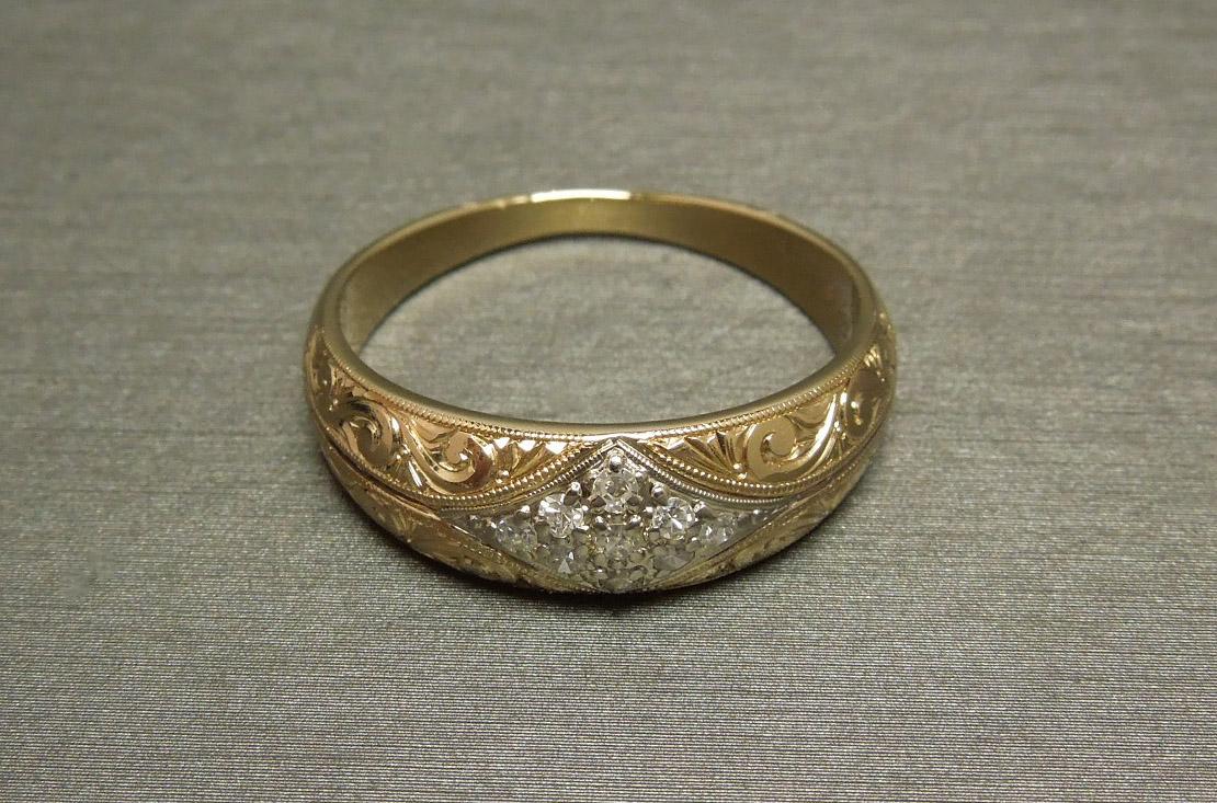 Men S 0 25tcw Diamond Victorian Gold Scroll Wedding Band C1950