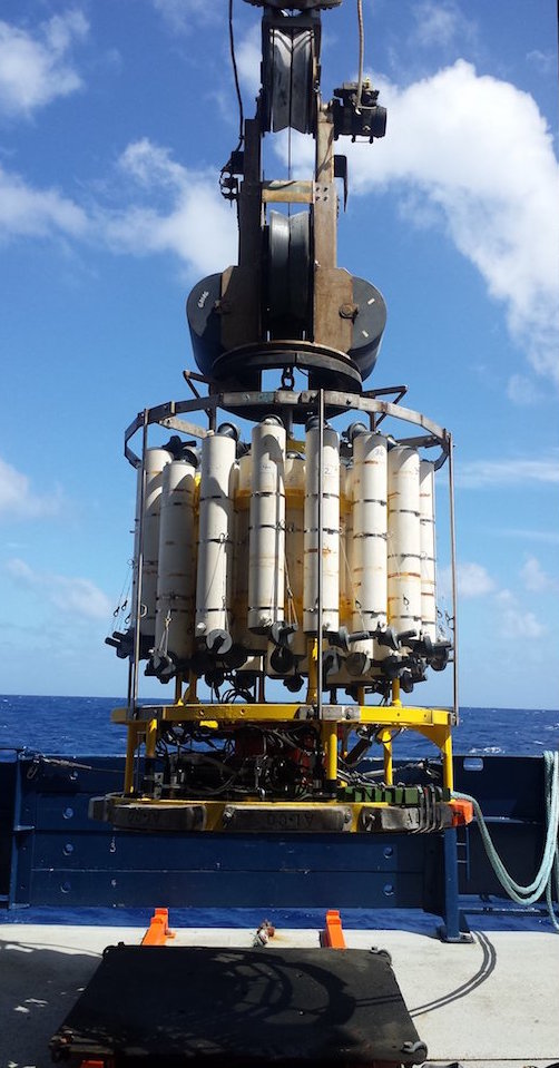 AOML Oceanographers Collect Coast to Coast Measurements on the GO     The CTD O2 sensor is connected to a water sampling package to collect water  samples at 36 depths  providing precise measurements of salinity and  temperature