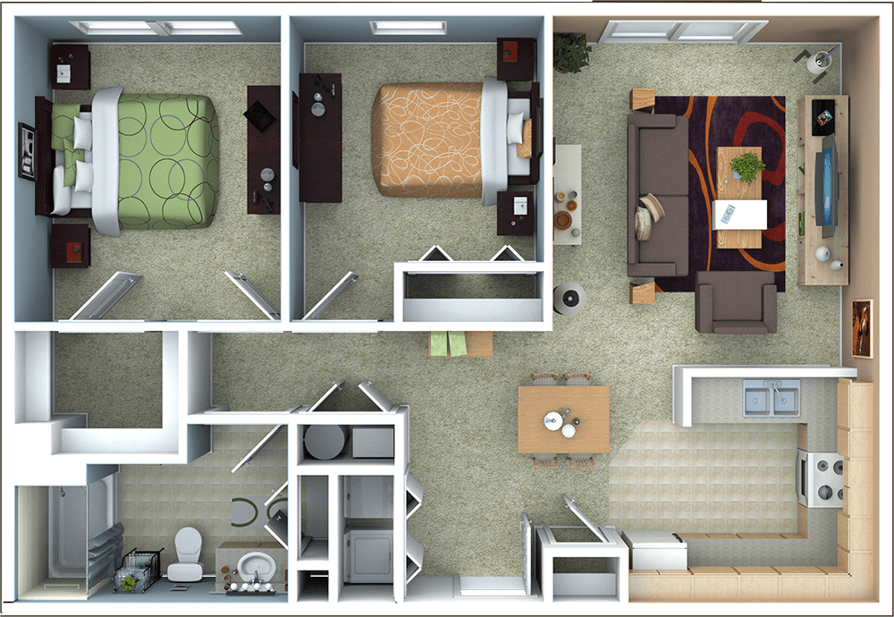 Richmond Apartments   Floor Plans 2 Bedroom Apartment Floor Plan