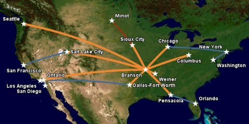 Route map following Minot shutdown     Apex Airways Apex Airways route map  February 2016  following the shutdown of operations  at Minot International