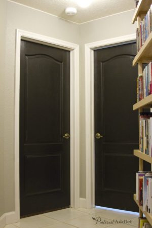 Painting the Interior Doors Black The interior doors in the hallway were painted black   LOVE how they turned  out