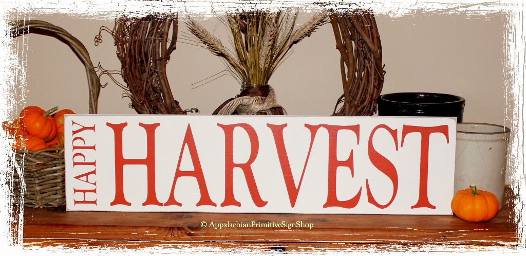 Happy Harvest Wood Sign Thanksgiving Halloween Fall Decoration
