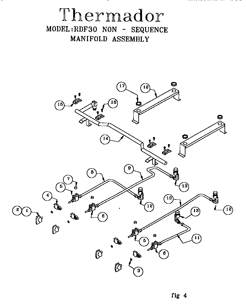 Rdf30qb freestanding dual fuel range non sequence manifold assembly parts diagram