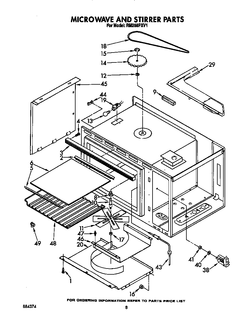 Rm288pxv electric built in oven with microwave microwave and stirrer parts diagram