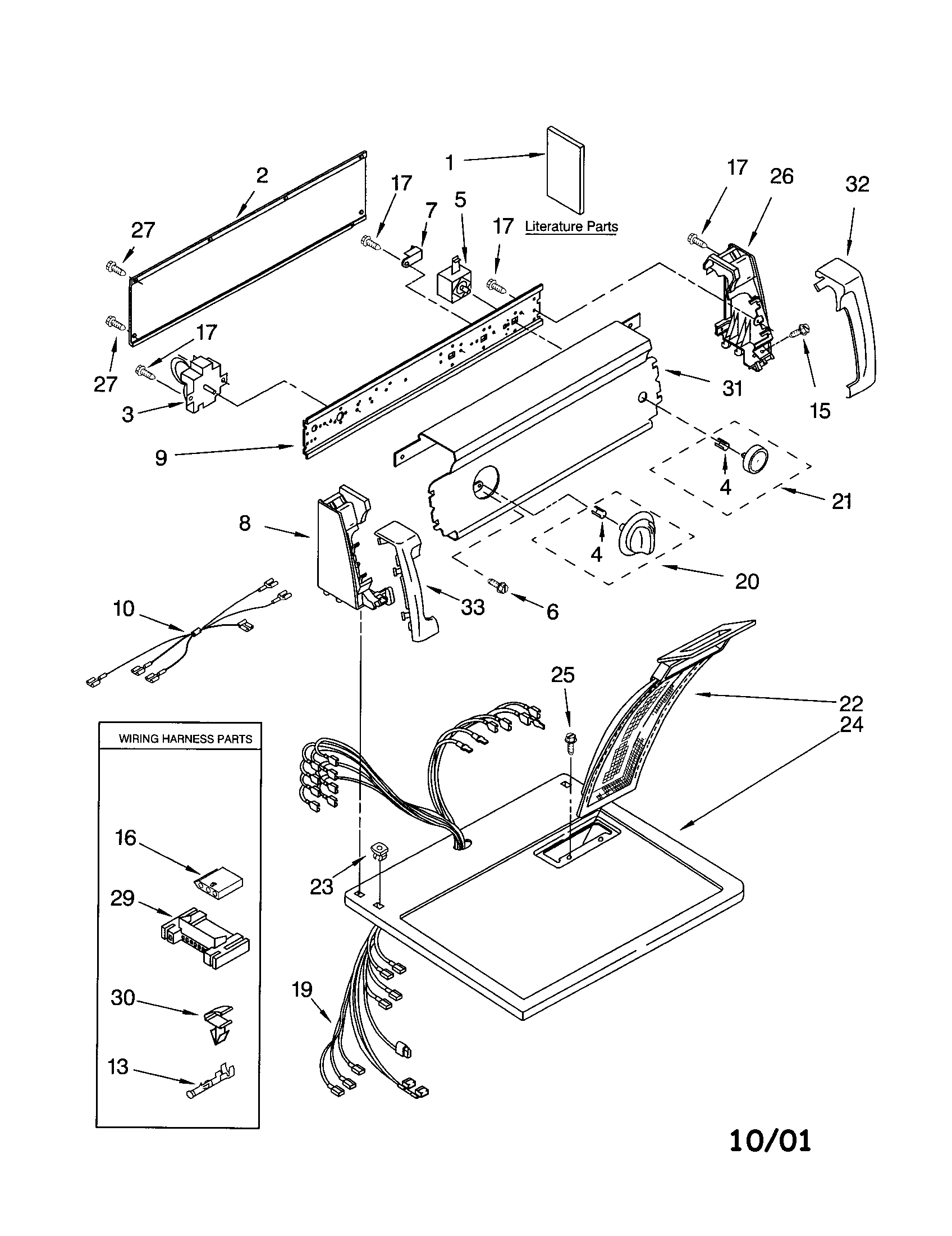 11062622101 electric dryer top and console parts diagram