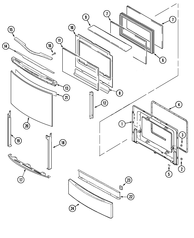 Jds9860aab slide in dual fuel downdraft range door access panel parts diagram