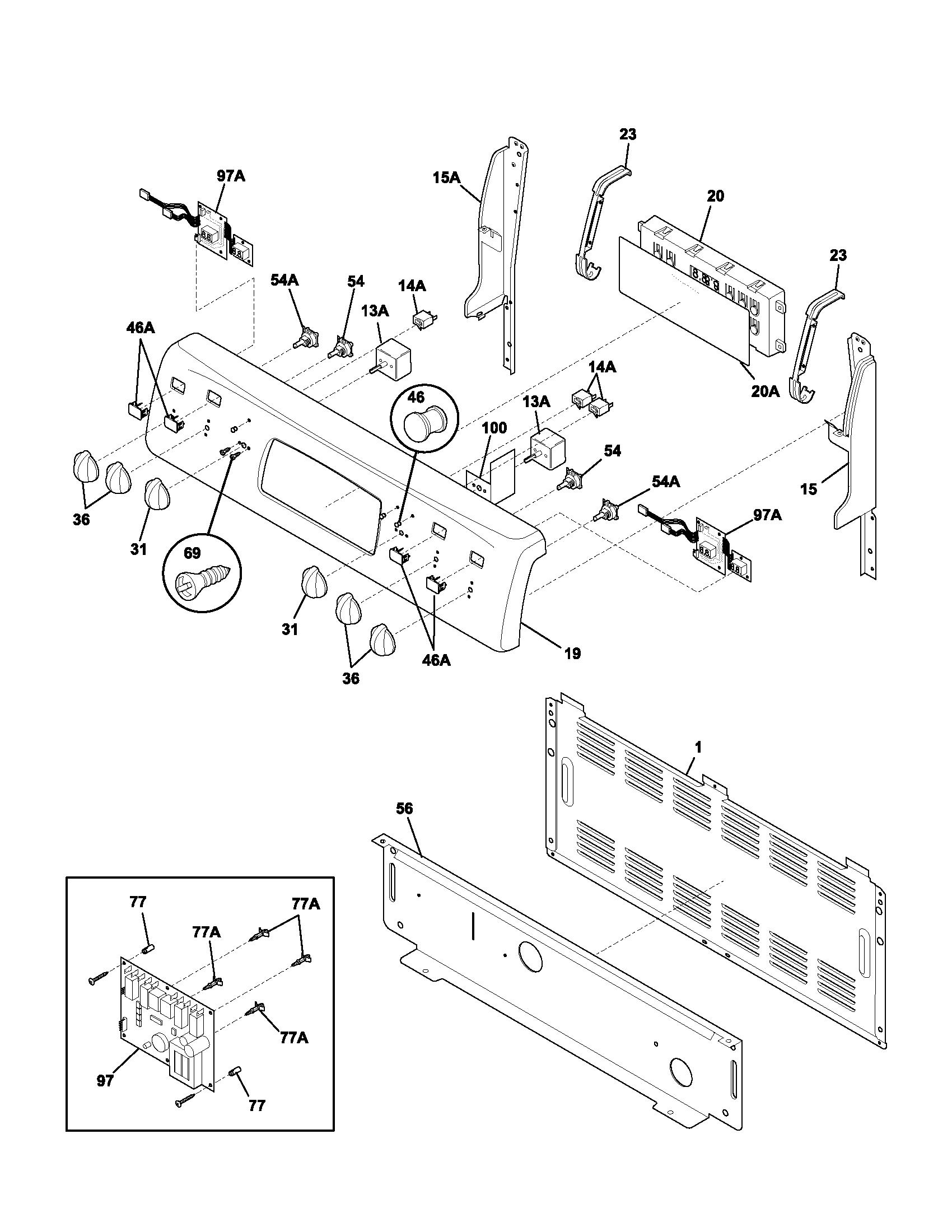 Plef398ccc electric range backguard parts diagram