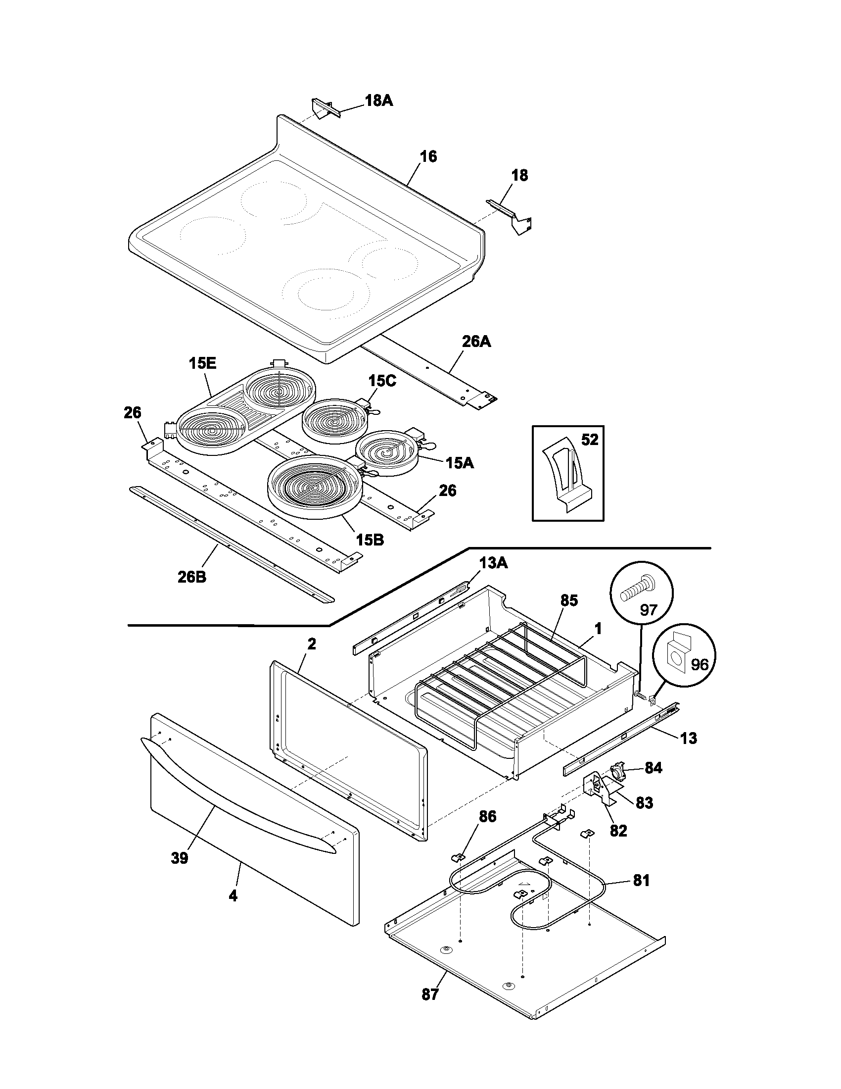 Plef398ccc electric range top drawer parts diagram