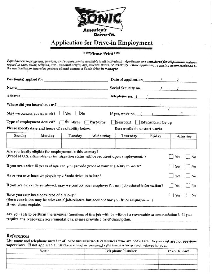 Mcdonalds Application Printable Version