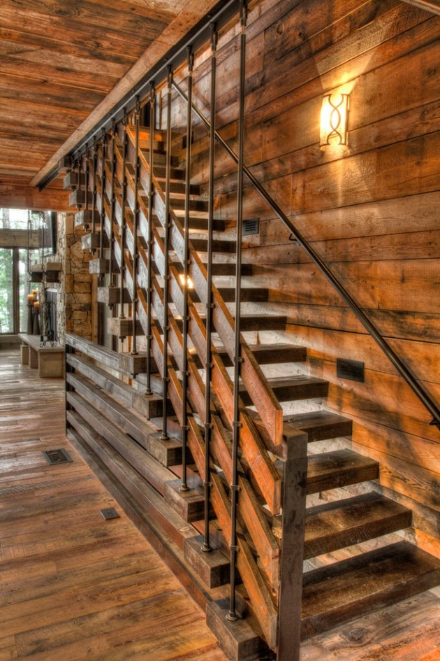 17 Splendid Rustic Staircase Designs To Inspire You With Ideas   Rustic Stair Railings Interior