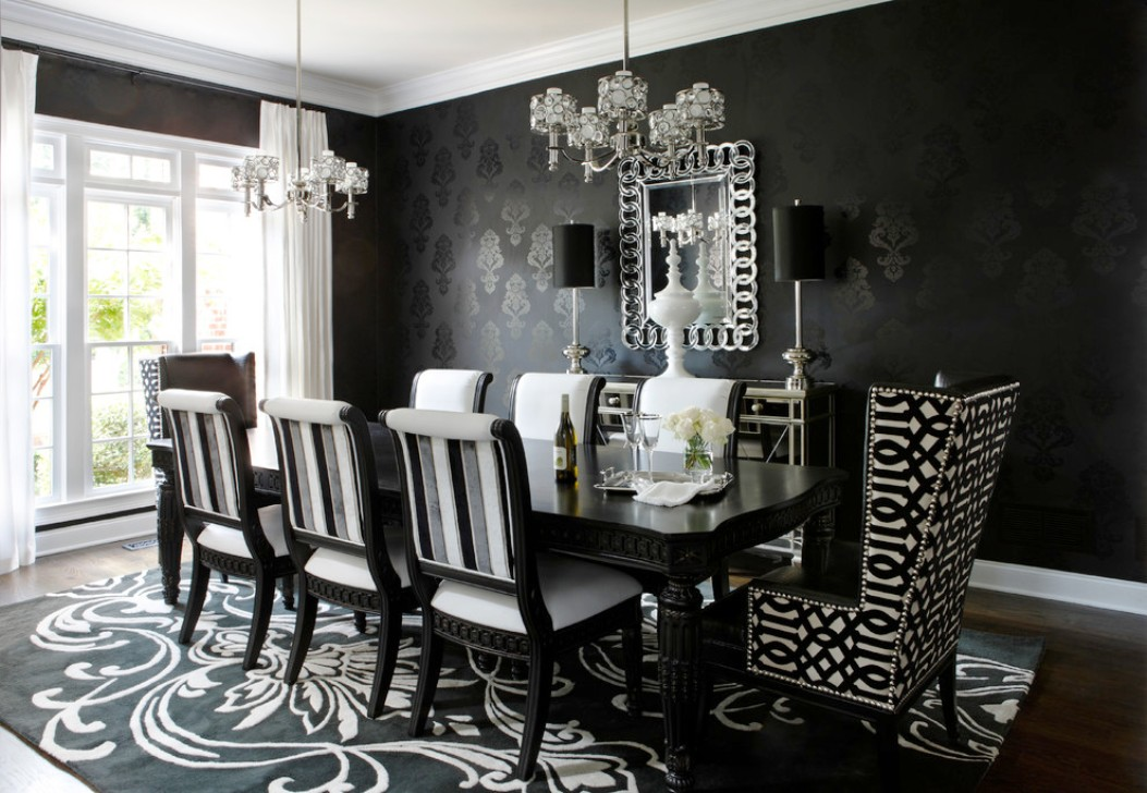Timeless Black   White Dining Room Designs For Glamorous Ambiance