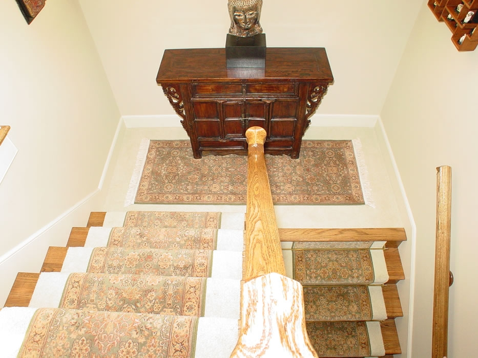 Green Oriental Stair Runner With Matching Area Rug On Landing   Runners On Stairs With Landings   Roger Oates   French Tuck   Annie Selke   Before And After   Runners Up