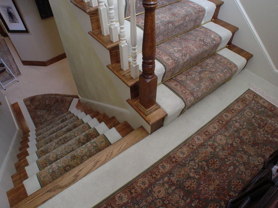 Stair Runner S With Matching Oriental Rug For Landing Installed   Carpet For Stairs And Landing   Textured   Patterned   Silver   Neutral   Hardwood
