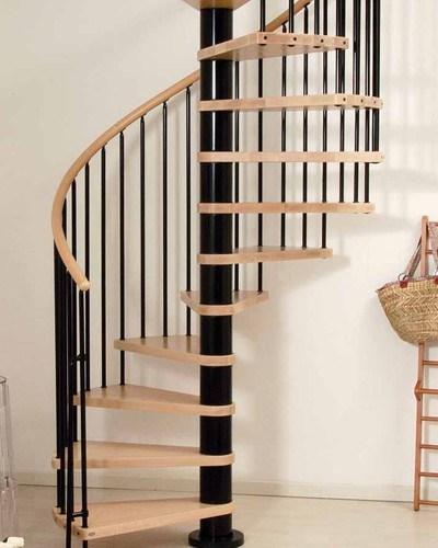 Phoenix Wood Tread Spiral Staircase Kit Metal Steel And Wood | Wood And Metal Banister | Modern | Rustic | Stainless Steel | Design | Aluminum