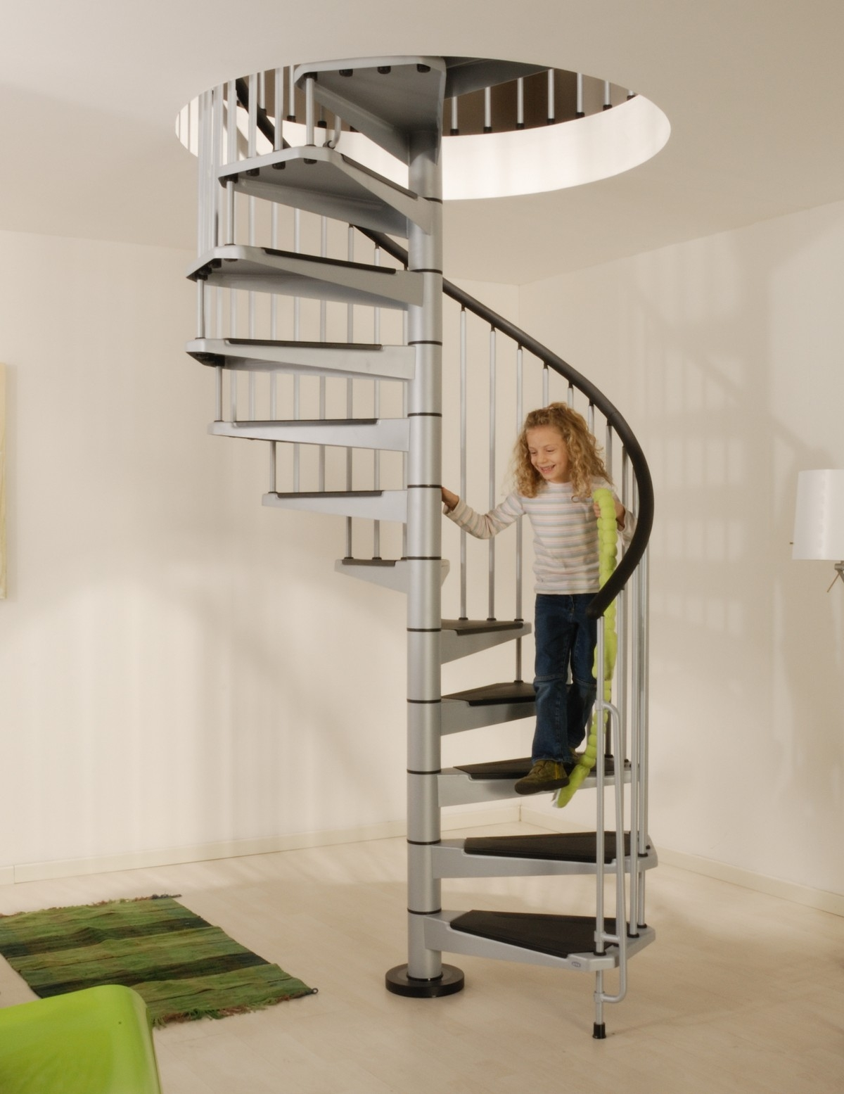 Civik Spiral Staircase Kit Metal Steel And Wood Spiral   Loft With Spiral Staircase   Small   Contemporary   Addition   Timber   New