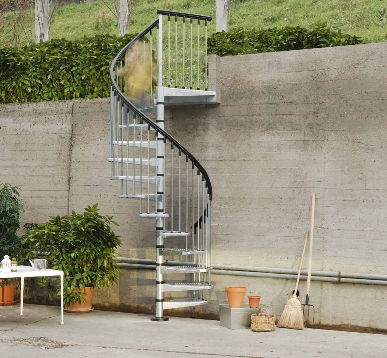 Metal Outdoor Spiral Staircase Exterior Stairs | Spiral Staircase For Outside Deck | Iron | Custom | Double Spiral | Railing | Portable Rectangular Concrete