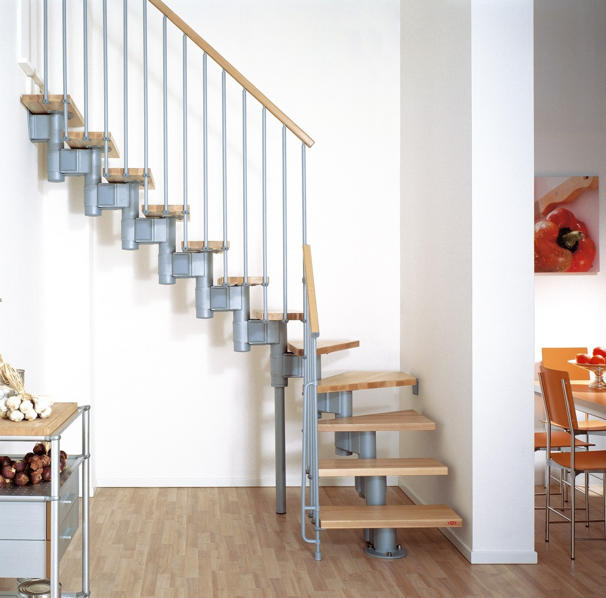 Kompact Adjustable Staircase Kit Metal Steel And Wood Spiral | Spiral Staircase 2 Floors | 8 Ft | Interesting | Spiral Shaped | Outdoor | Wooden