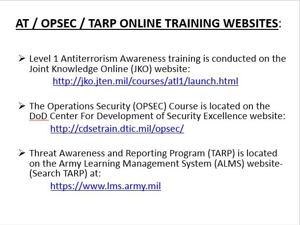 Army Opsec Training Certificate Alms