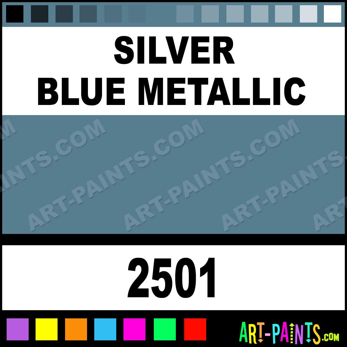 Blue Metallic Silver Paint