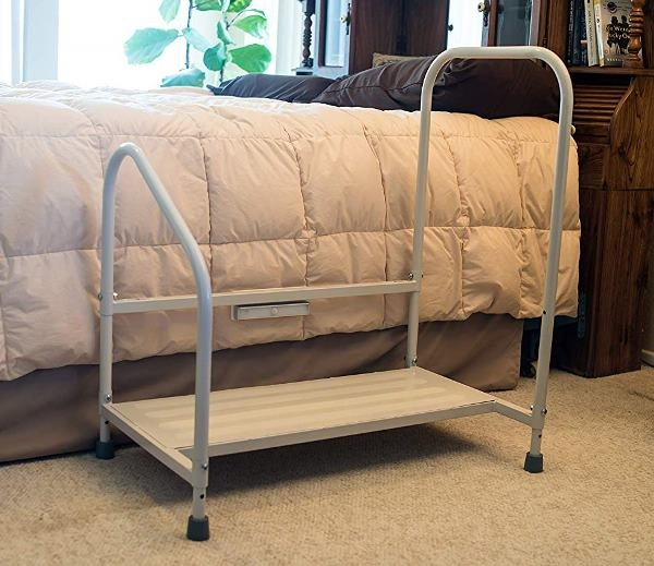 Step2Bed Bedside Safety Step Adjustable Height Bed Step With   Safety Rails For Steps   Step Handrail   Steel Stair   Exterior Handrail   Wall Mounted   Wrought Iron