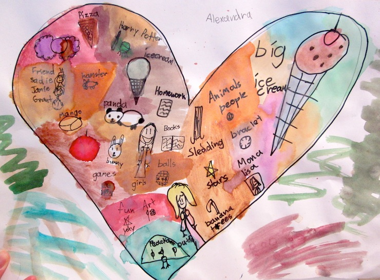Map of My Heart  1st Graders     Art is Basic   An Elementary Art Blog     1st Grade Valentine s Day Art Project