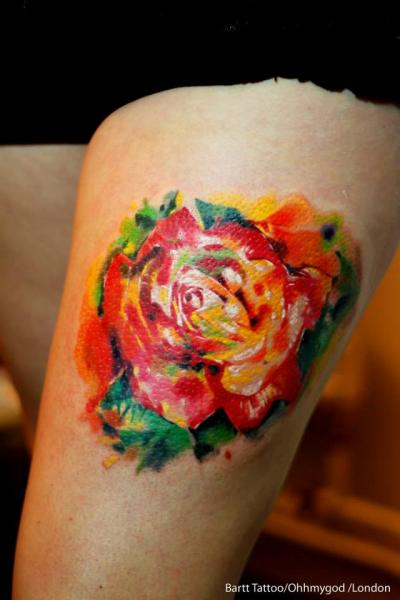 2 Unique Orange Rose Tattoo On Thigh