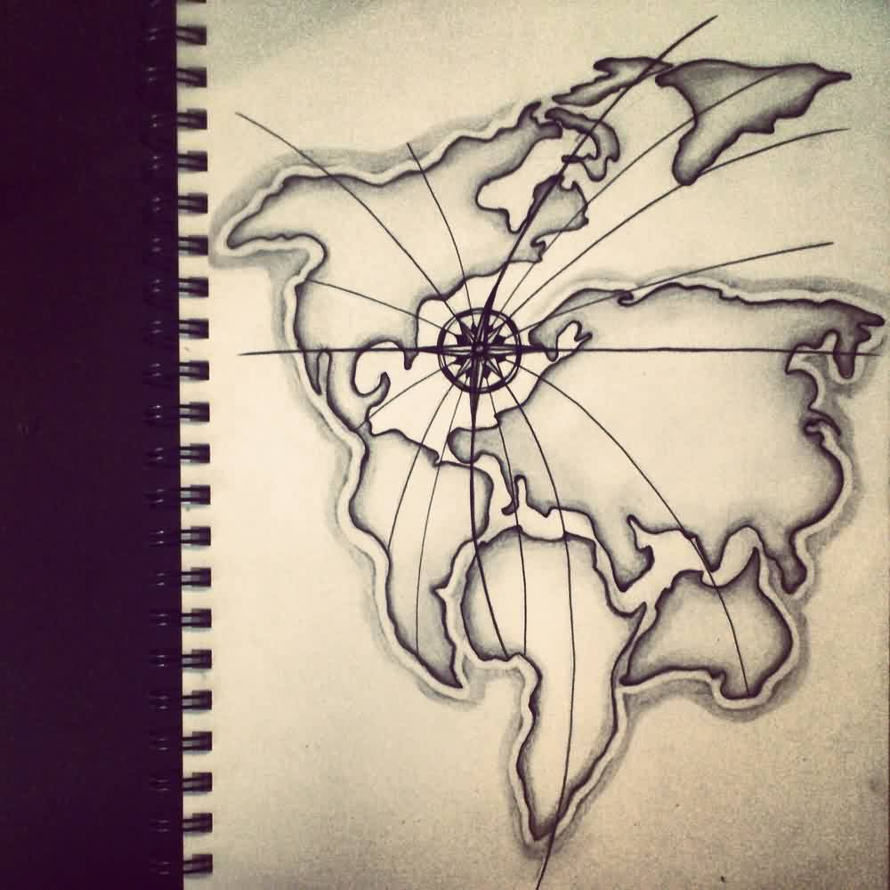 Old map and compass tattoo designs gumiabroncs Choice Image
