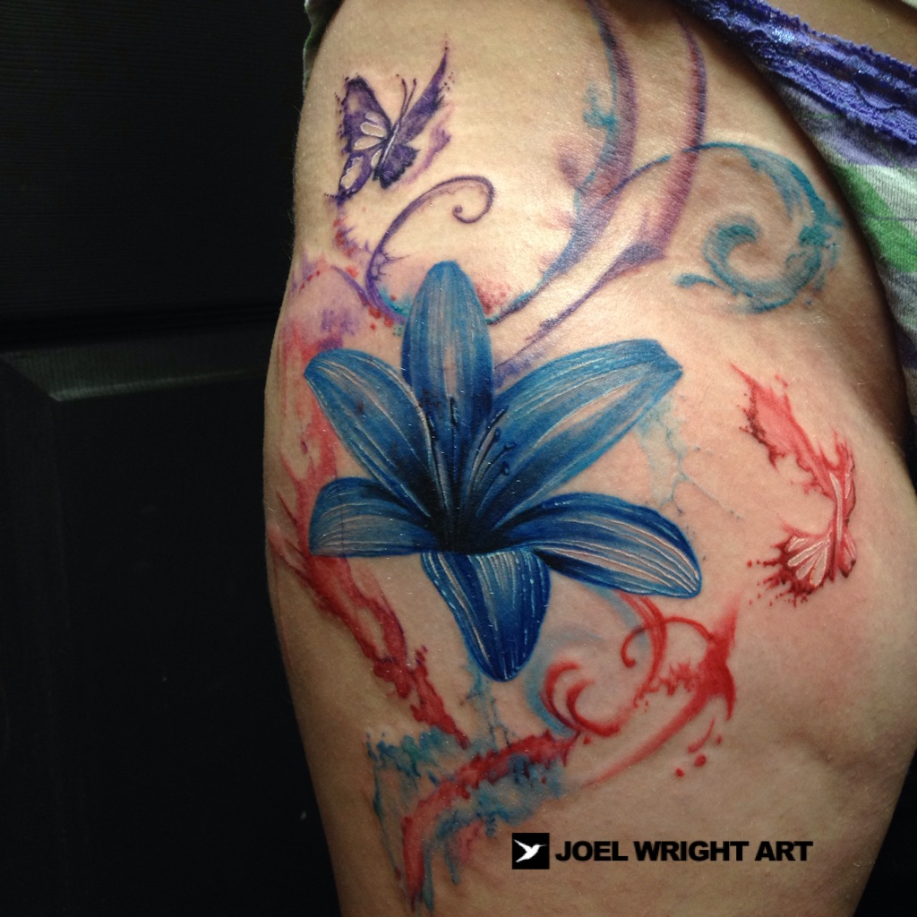 Lily Flower Water Color Tattoos Pictures Picturesboss