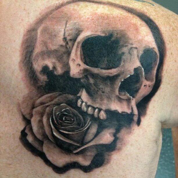 shoulder skull rose tattoo - 612×612