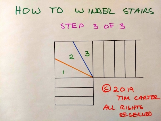 How To Winder Stairs | Double Winder Staircase Plans | Stairway | 4 Step | Cad | Small Stair | 180 Degree
