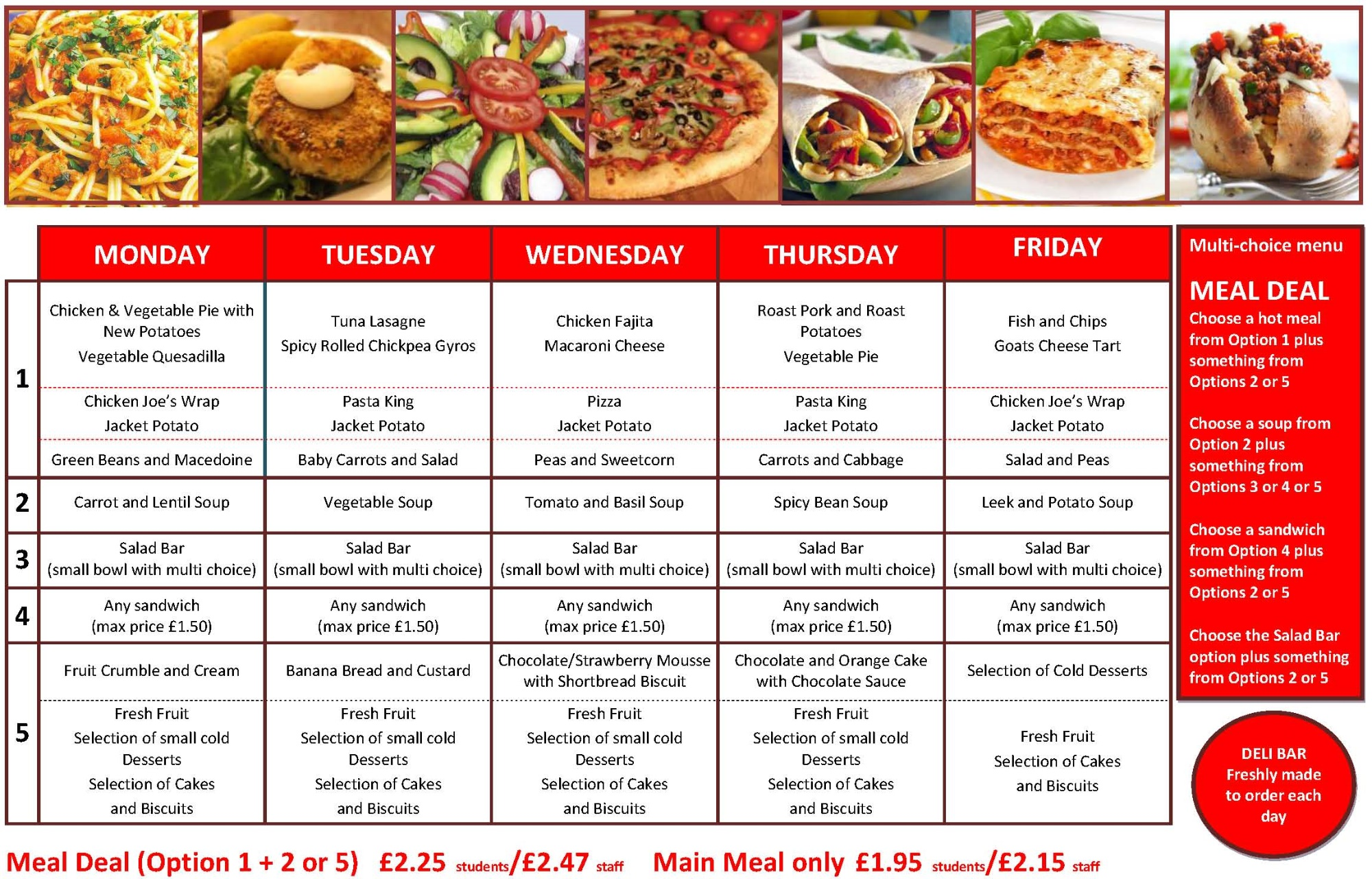 Healthy School Meals Menu