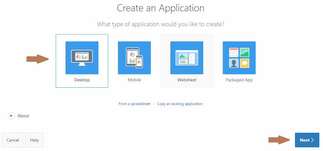 oracle-apex-create-application