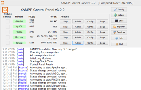 How to use XAMPP Control Panel to Manage/Configure Services