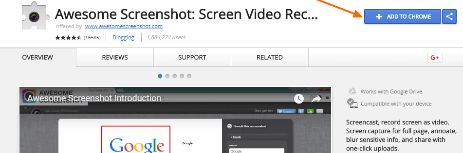 add awesome screen to chrome