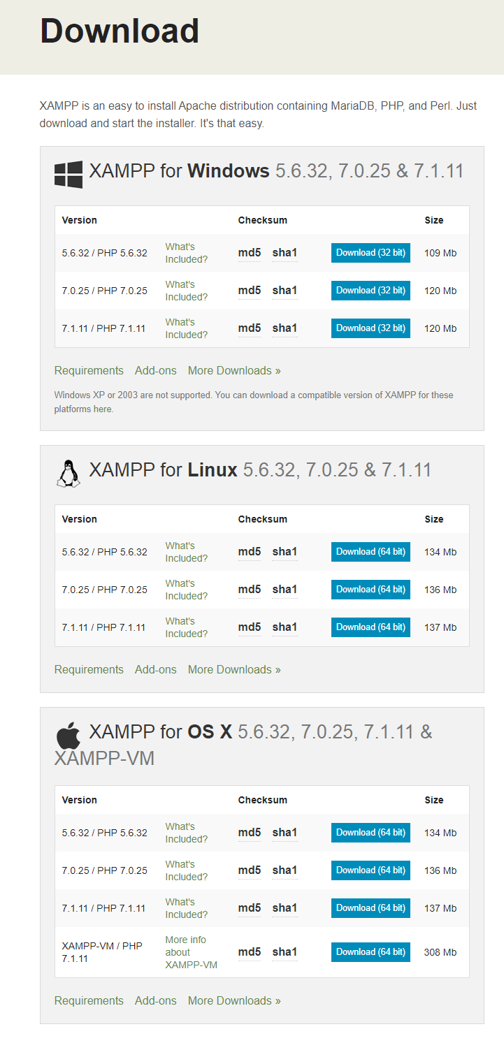 Download latest XAMPP