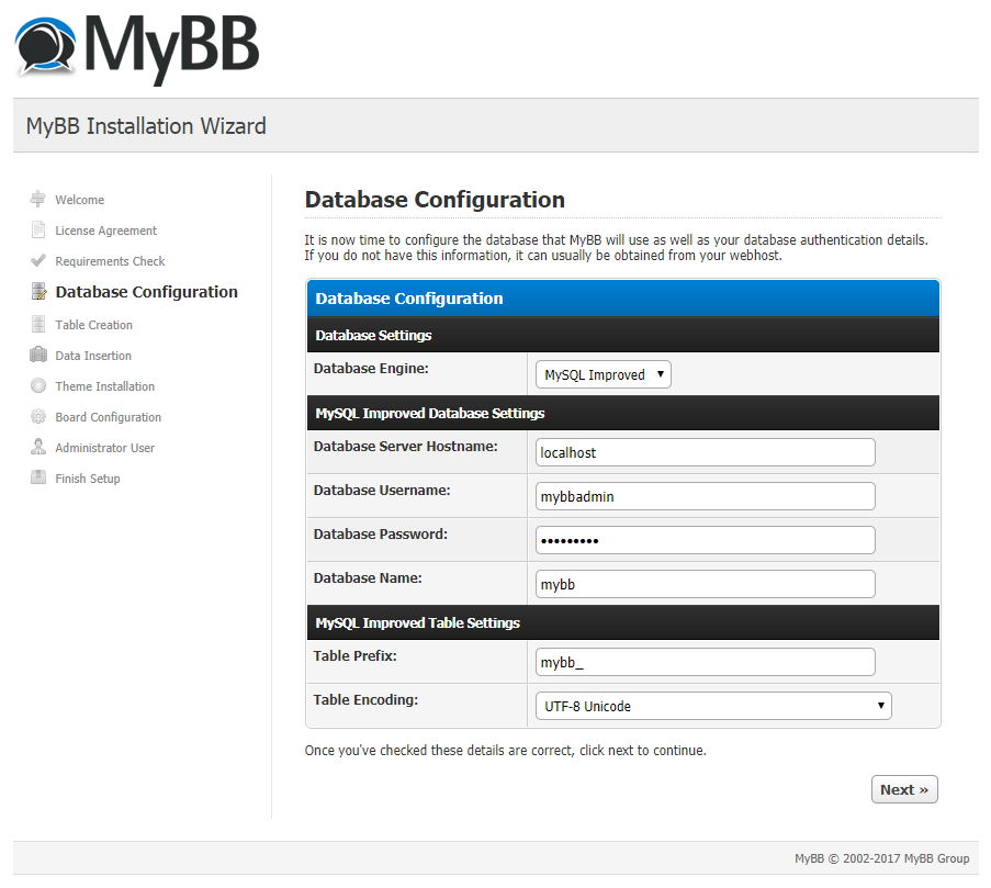 mybb database configuration
