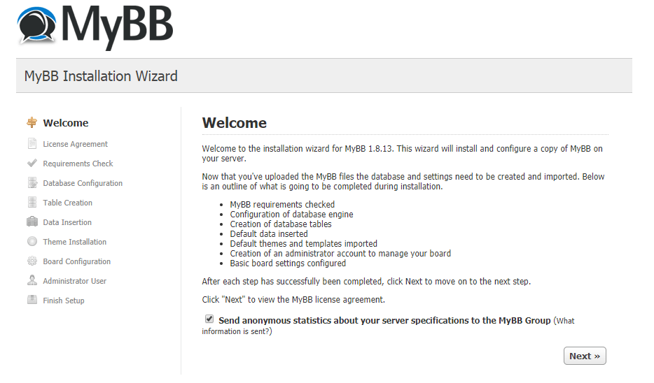 mybb install welcome