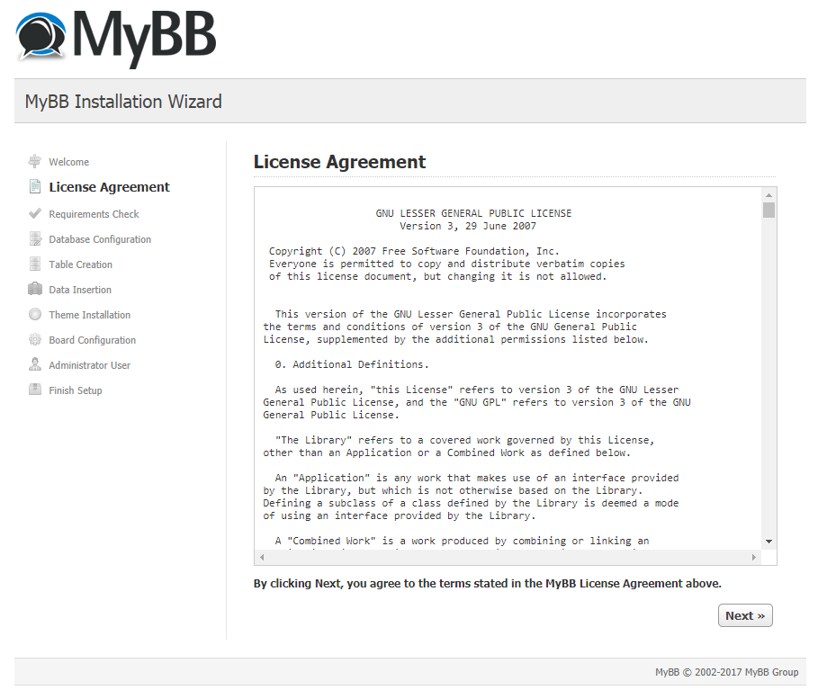 mybb license agreement