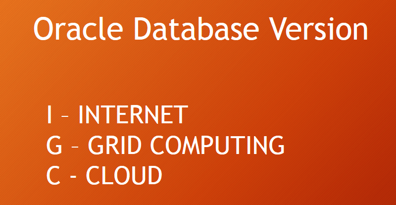 What is meaning of i, g and c in Oracle Database Version