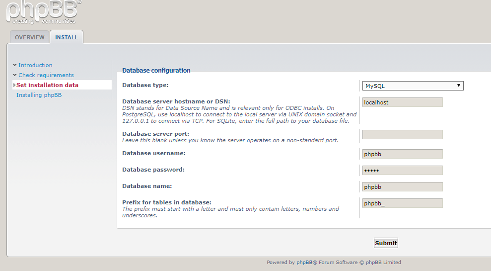 enter phpbb database configuration